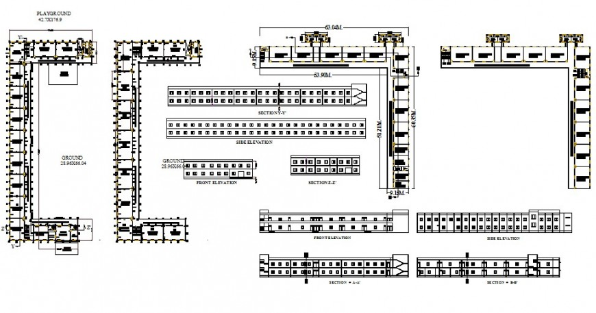 School institute building structure plan, section and elevation 2d view dwg file