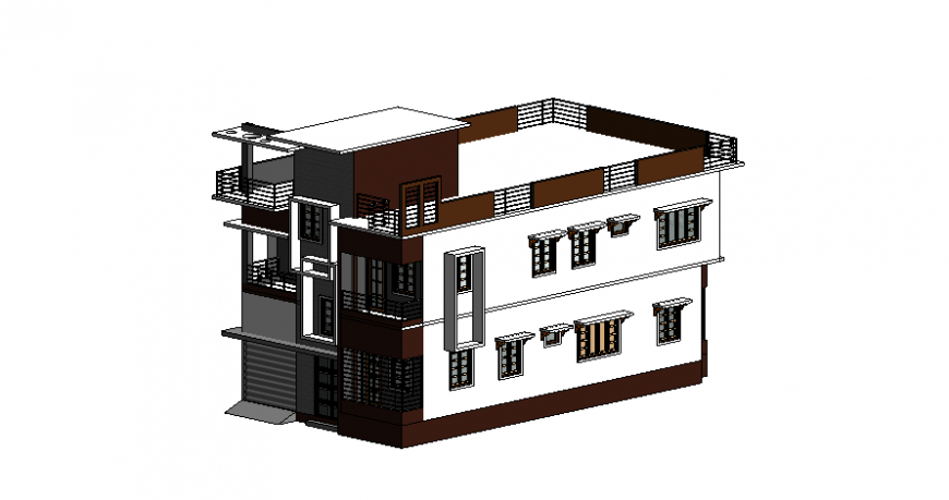 School isometric view detail autocad file