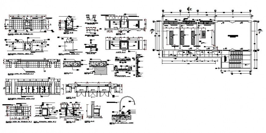 School laboratory elevation, section, plan and auto-cad drawing details dwg file