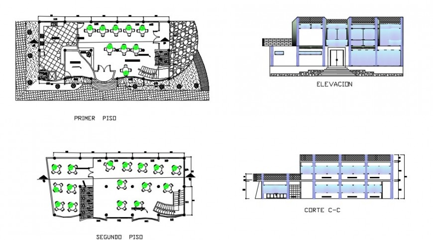 School layout plan and elevation  detail of school  dwg file