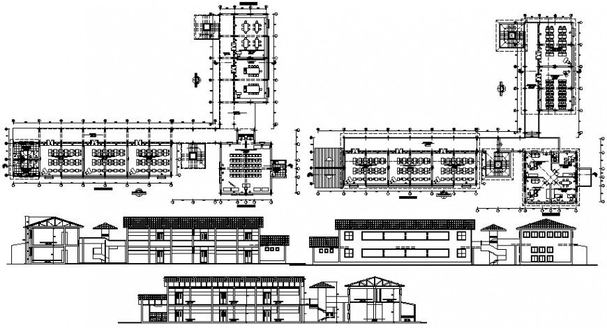 School main and back elevation, main section and floor plan drawing details dwg file