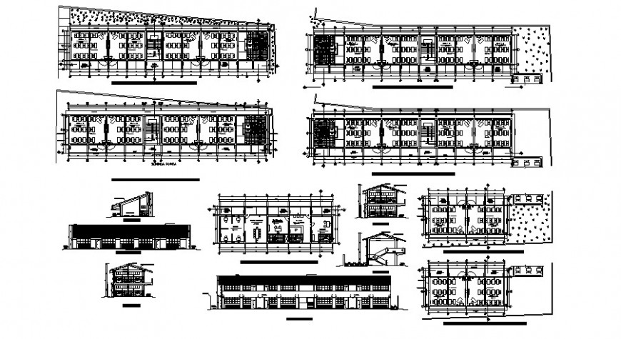 School main and back elevation and floor plan distribution cad drawing details dwg file
