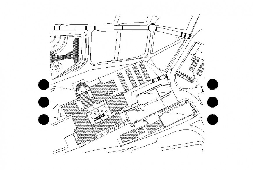 School of architecture site plan and landscaping structure details dwg file