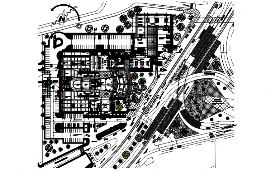 School of art distribution plan and landscaping details dwg file