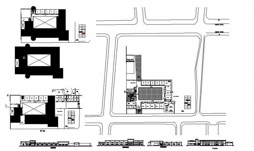 School of crafts building elevation, section, floor plan and auto-cad details dwg file