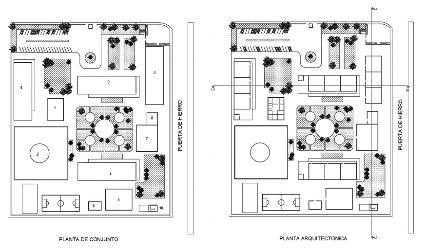 School site layout plan and landscaping structure details dwg file
