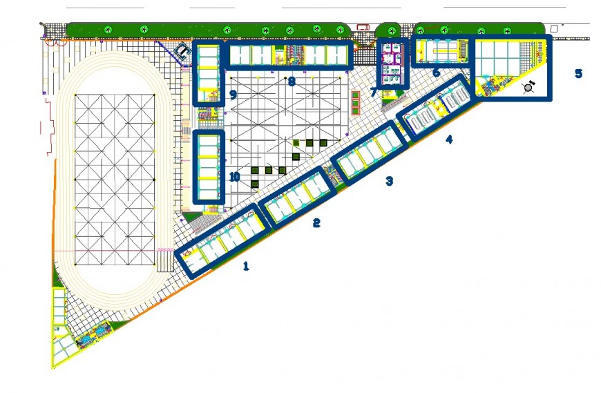 School site plan drawing in dwg file.