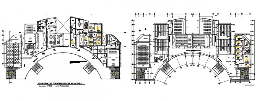 School stadium and architectural and furniture layout plan dwg file