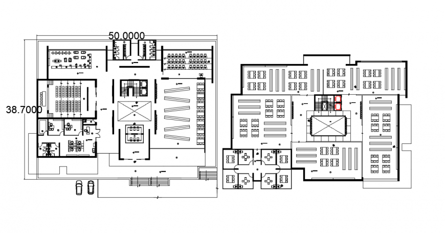 School with library floor plan distribution drawing details dwg file
