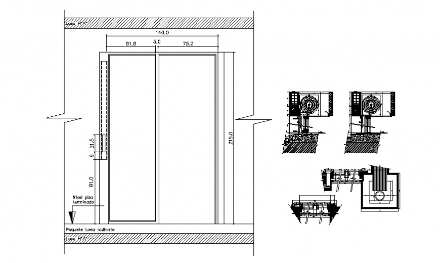 Scrolling blinds detail plan and section autocad file