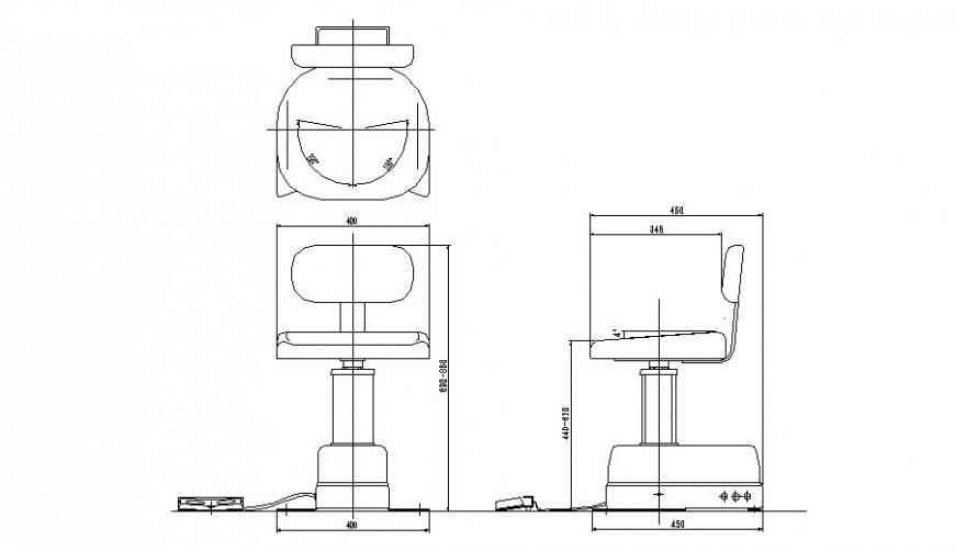 Scrolling chair plan, elevation and section detail dwg file