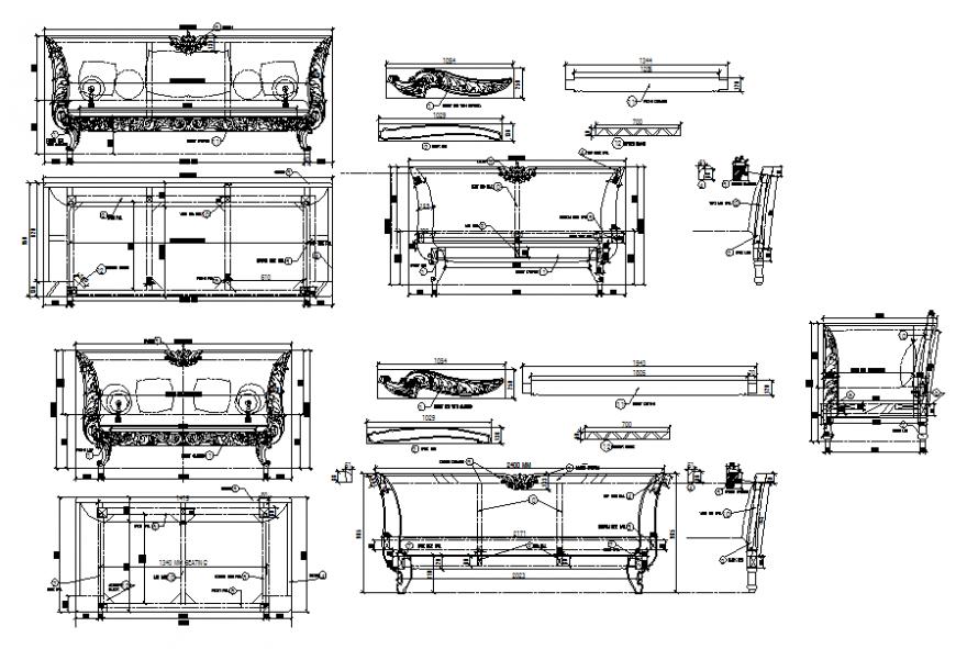 Seater showroom sofa elevation cad blocks details dwg file