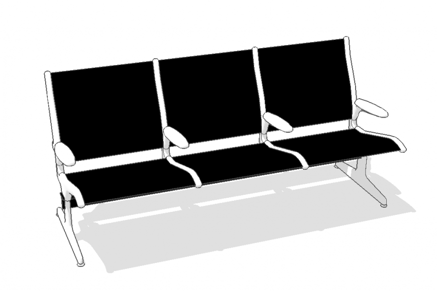 Seating bench detail elevation 3d model layout sketch-up file