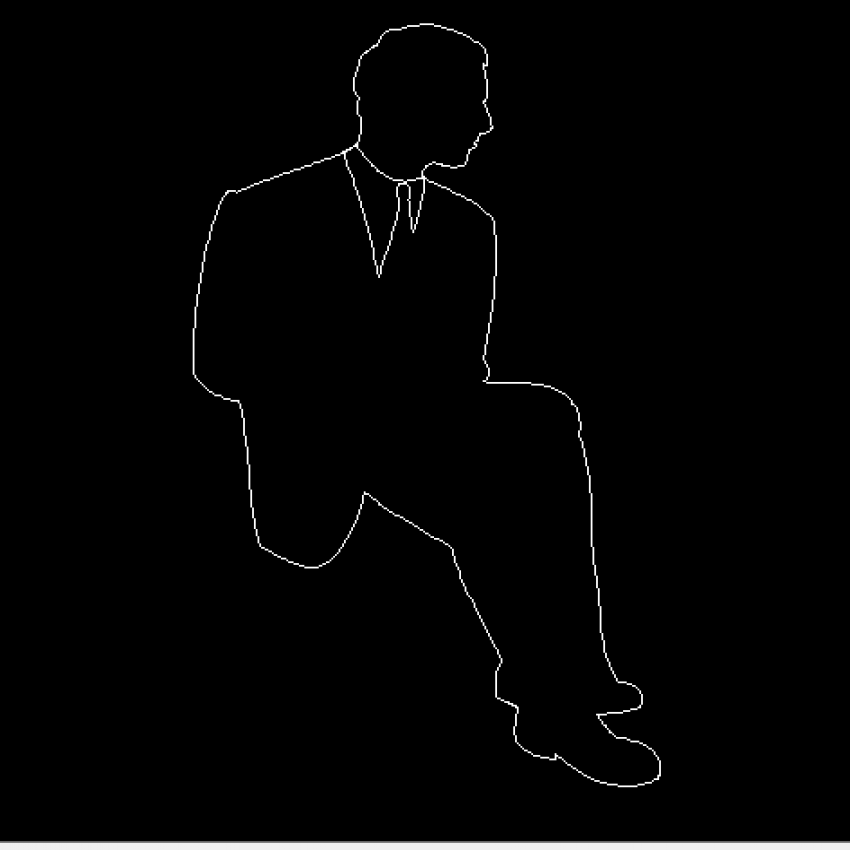 Seating man front view cad block design dwg file