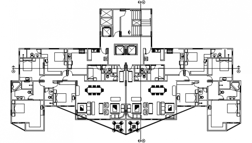 Second floor distribution plan details of apartment building dwg file