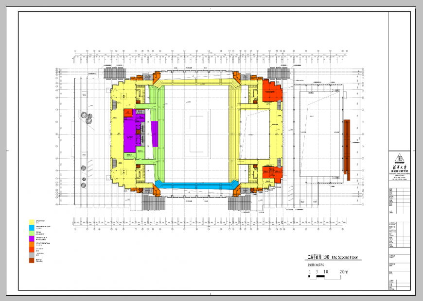 Second-floor plan of an industrial building detail 2d view dwg file