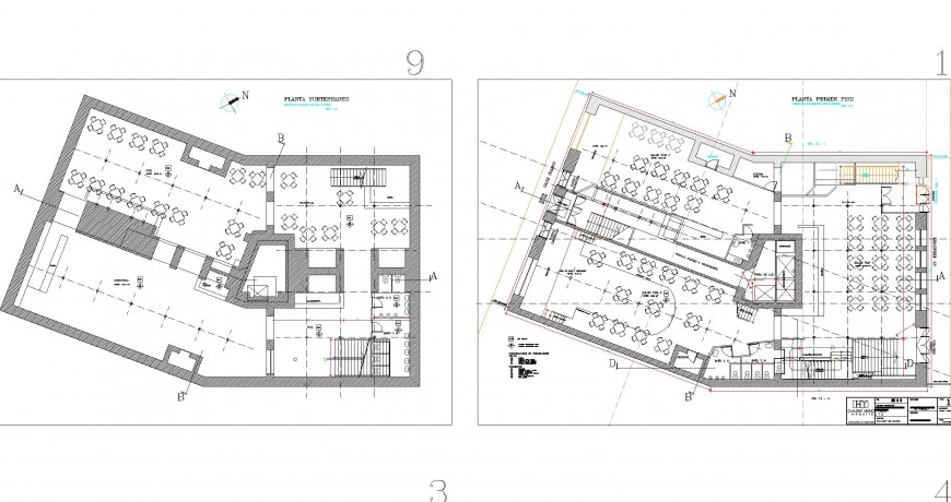 Second and third floor commercial bar terrace plan detail