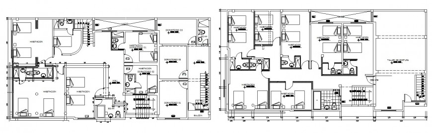 Second and third floor layout plan drawing details of local hotel building dwg file