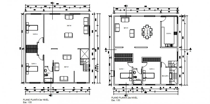 Second and third floor plan details of residential house dwg file