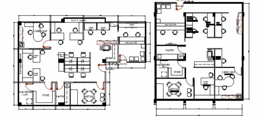 Second and third floor plan drawing details of office building dwg file