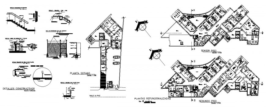Second floor, third floor distribution, staircase and structure details of university dwg file