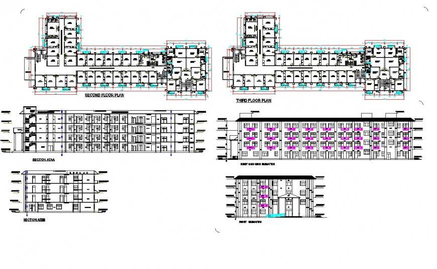 Second floor and third floor commercial building layout file