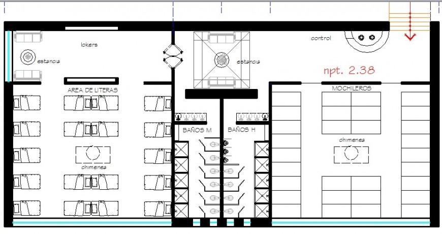 Second floor distribution details of restaurant with bar dwg file