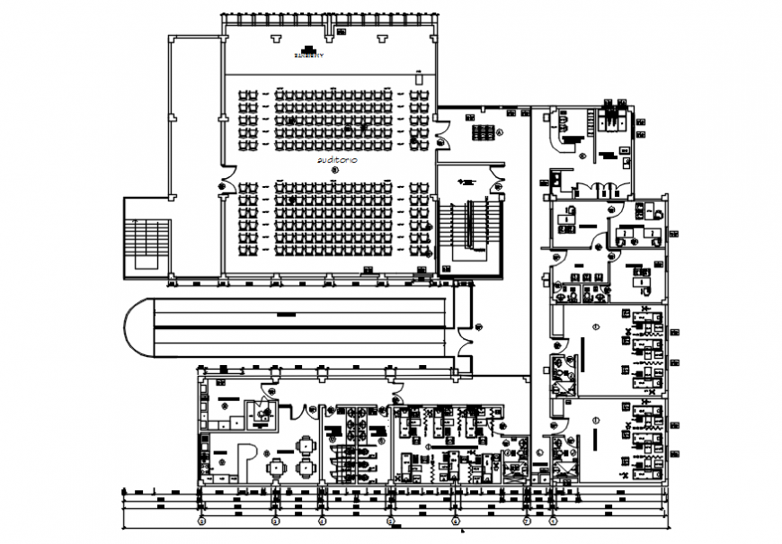 Second floor distribution drawing details of health center building dwg file