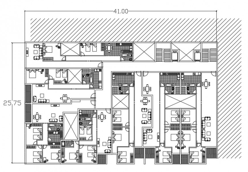 Second floor distribution plan details of apartment with furniture dwg file