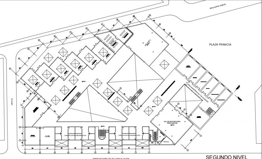 Second floor distribution plan details of art school dwg file