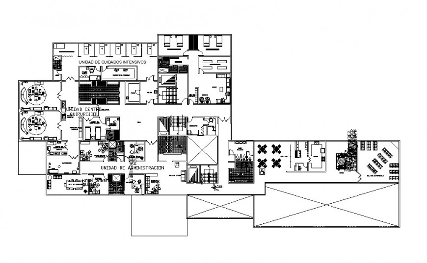 Second floor distribution plan details of hospital building dwg file