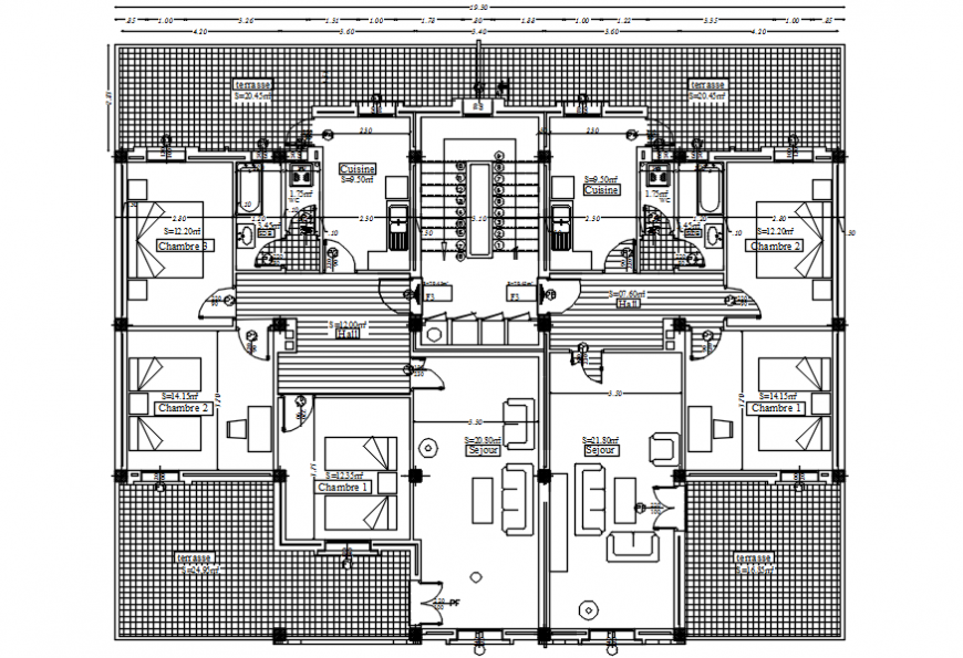 Second floor distribution plan drawing details of apartment building dwg file