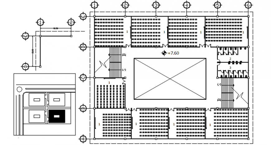 Second floor distribution plan of Engineering faculty building dwg file