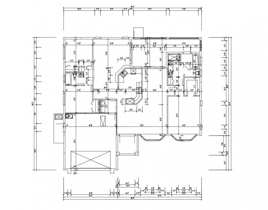 Second floor framing plan structure details of bungalow dwg file