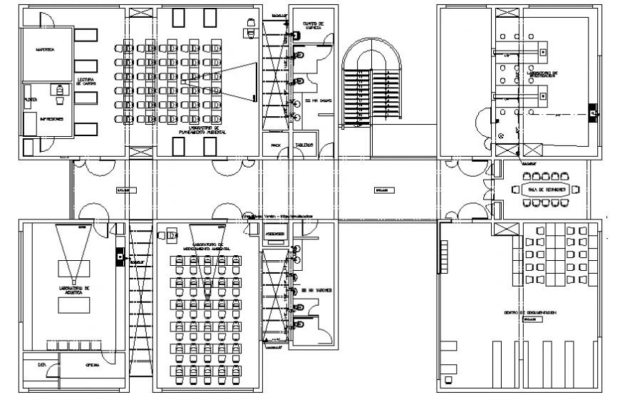 Second floor layout plan details of college building dwg file