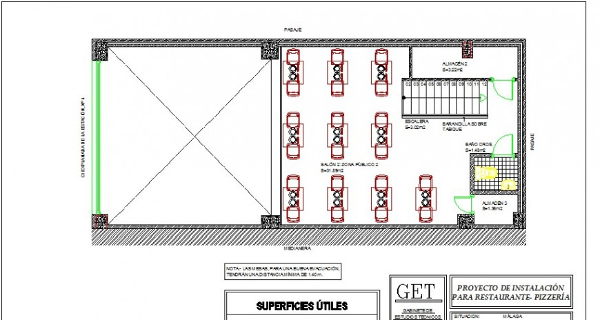 Second floor layout plan details of pizzeria restaurant dwg file