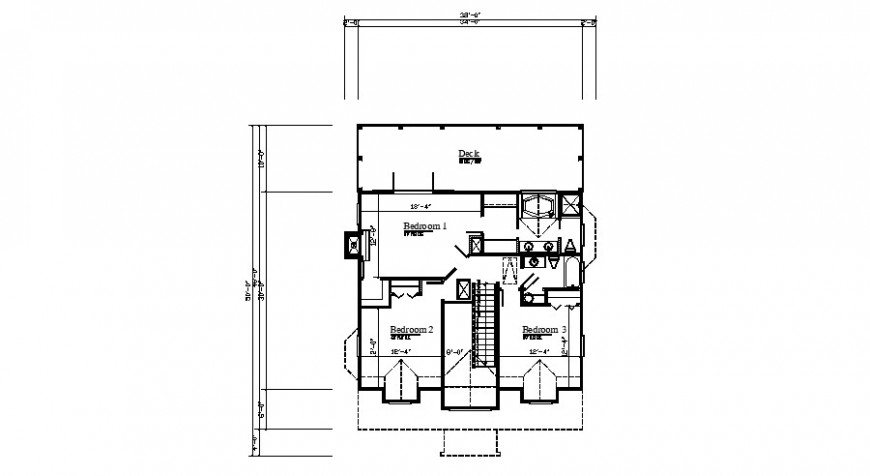 Second floor layout plan details of three bedroom house dwg file