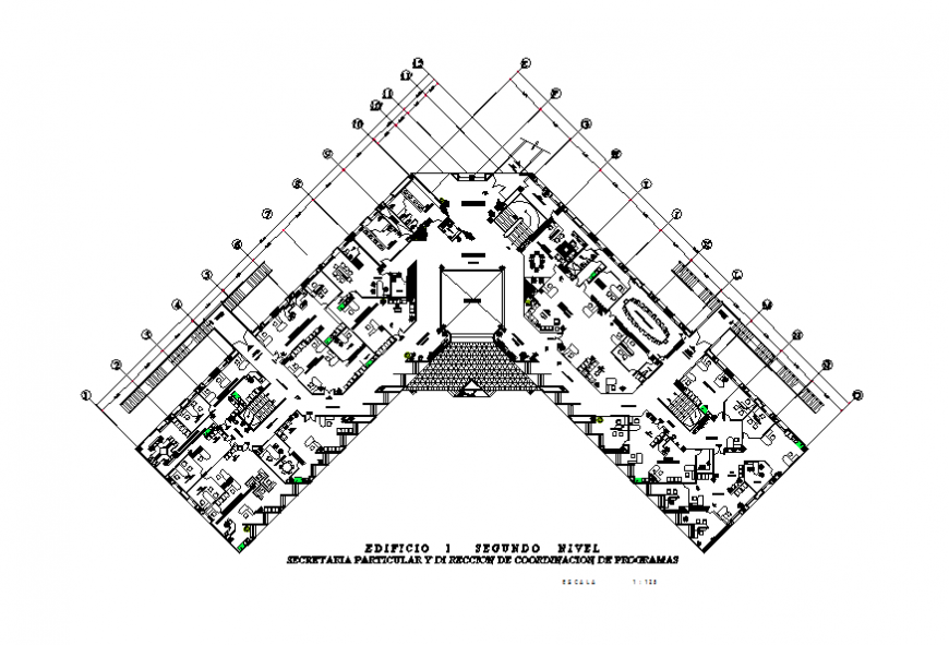 Second floor layout plan details office building dwg file