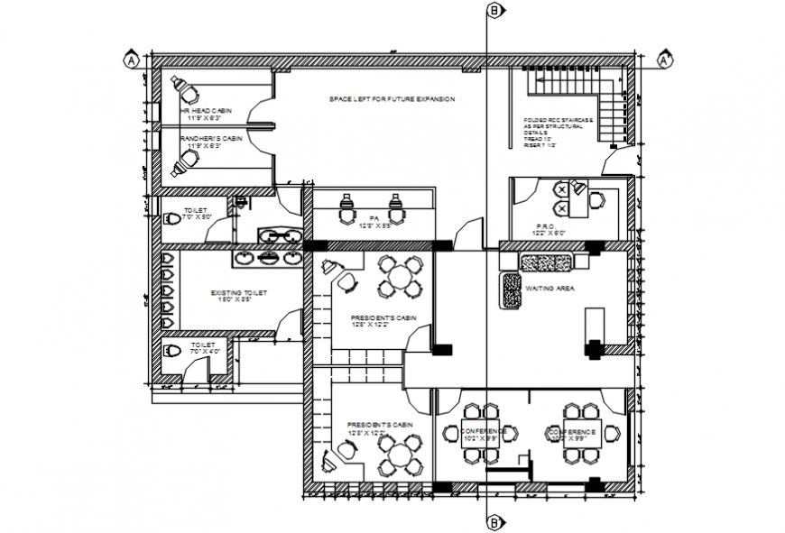Second floor layout plan drawing details for office building dwg file
