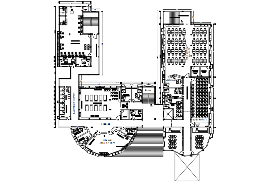 Second floor layout plan drawing details of college building dwg file