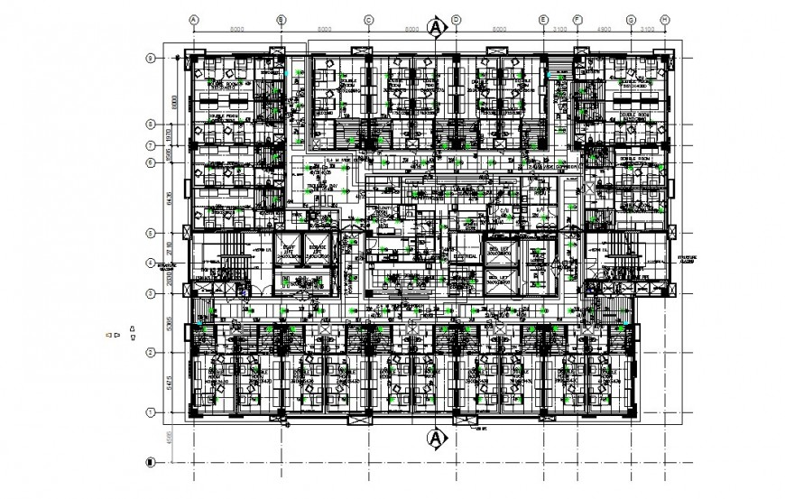 Second floor layout plan of multi-specialist hospital cad drawing details dwg file