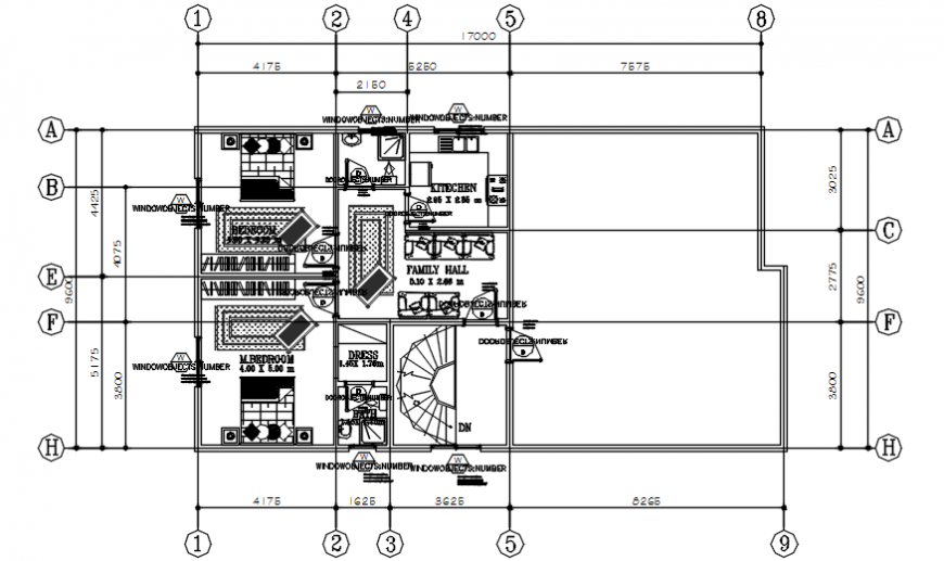 Second floor layout plan of multifamily house drawing