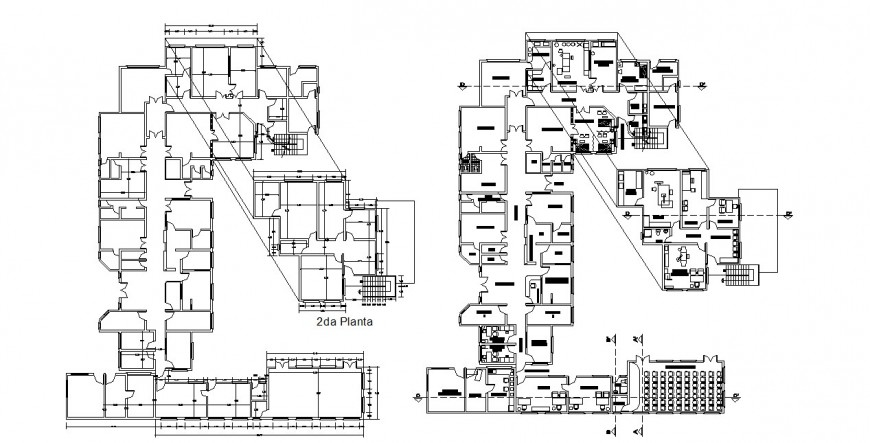 Second floor of corporate office layout plan and framing plan cad drawing details dwg file