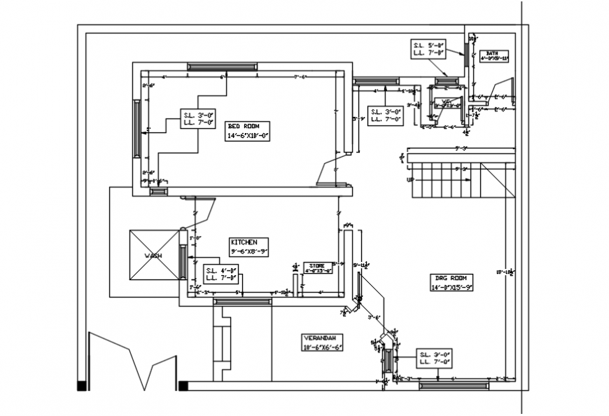 Second floor of house framing plan structure cad drawing details dwg file