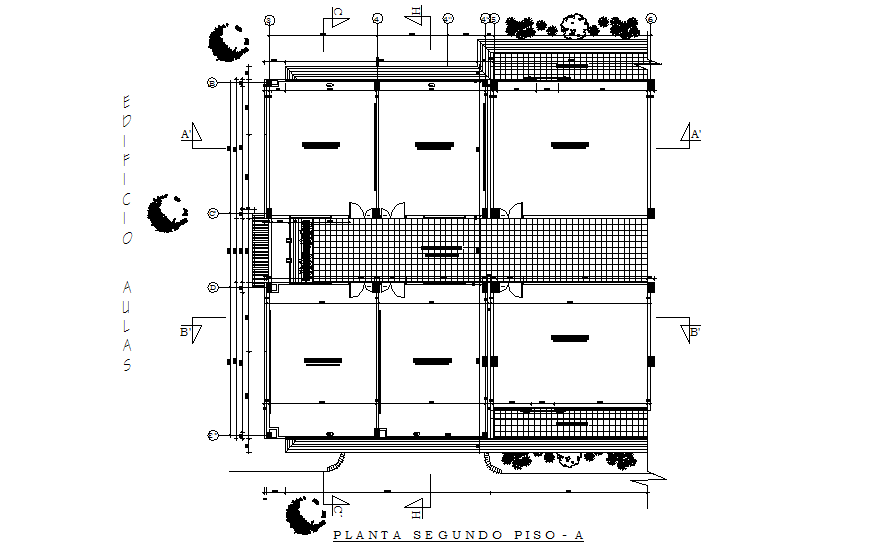 Second floor plan details of school building cad drawing details dwg file