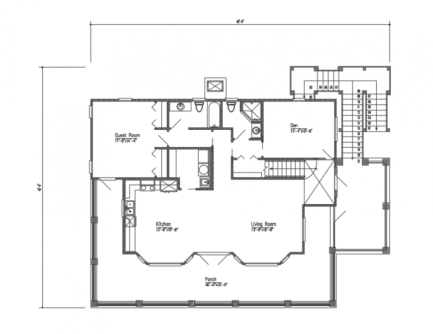 Second floor plan details of single family house dwg file