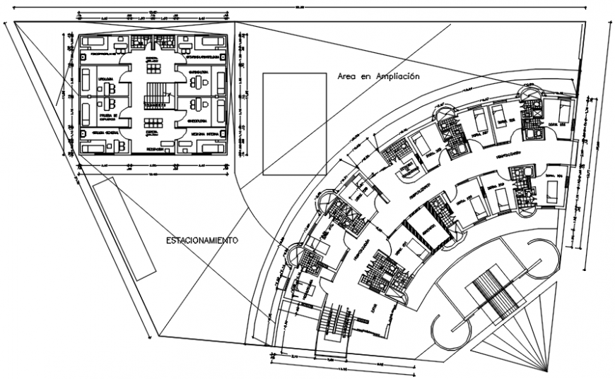 Second floor plan of clinic in AutoCAD