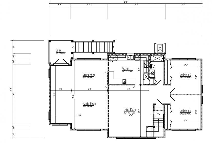 Second floor plan of house design with architectural detail dwg file