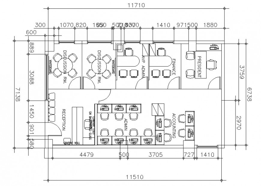 Second floor plan of office with furniture cad drawing details dwg file