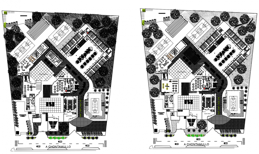 Secondary school distribution and landscaping structure cad drawing details dwg file